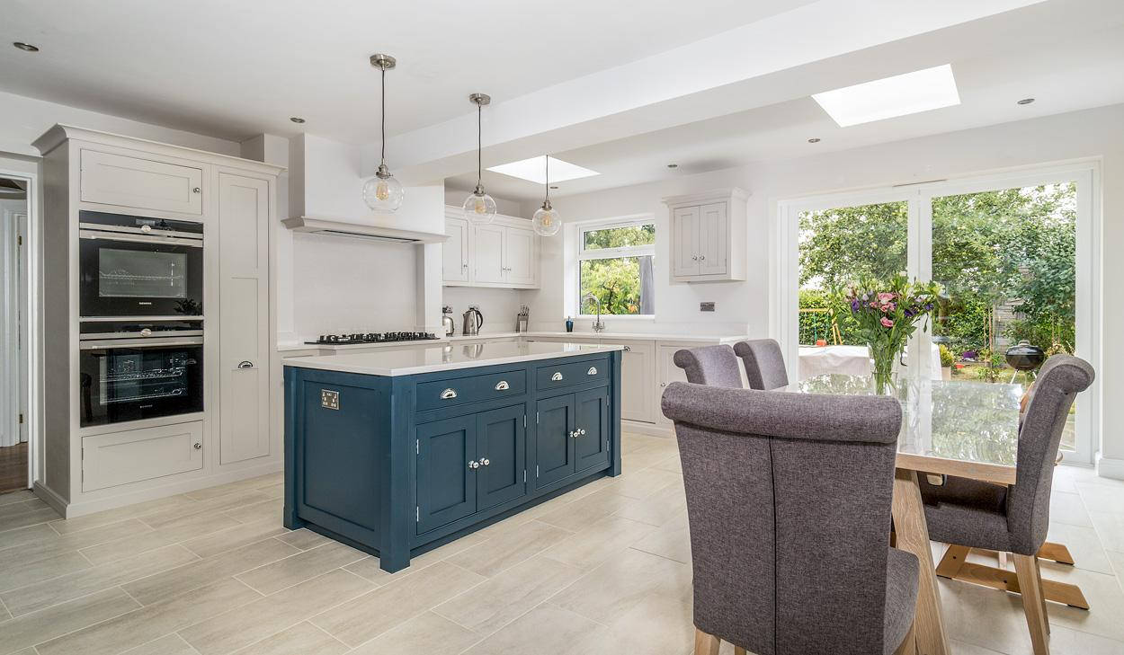 Hand Made Kitchens of Christchurch kitchen in High Wycombe Buckinghamshire Cornforth White and Hague Blue Kitch