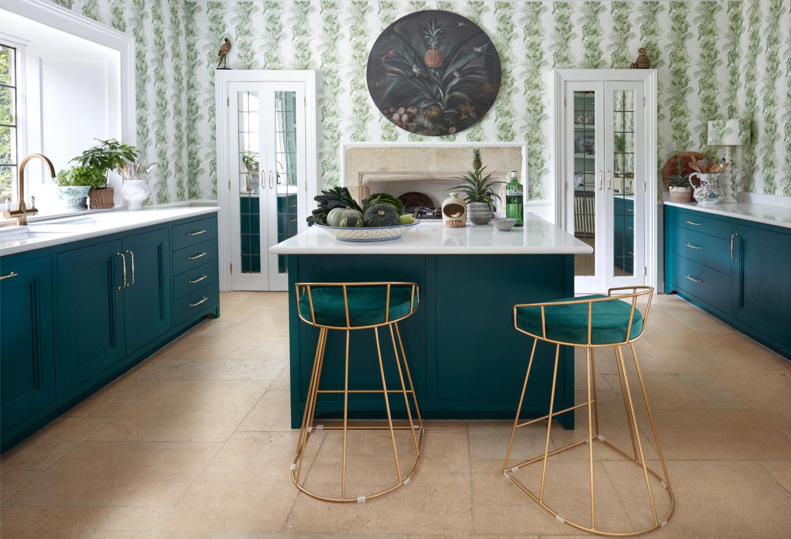 Kitchen painted for Laurence Lewelyn-Bowen in Gin Bottle Green, Cirencester, Cotswolds