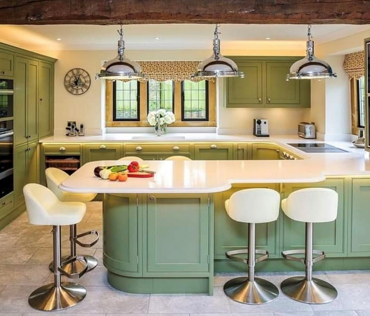 Charles York kitchen painted in Farrow and Ball Treron in Chard Somerset
