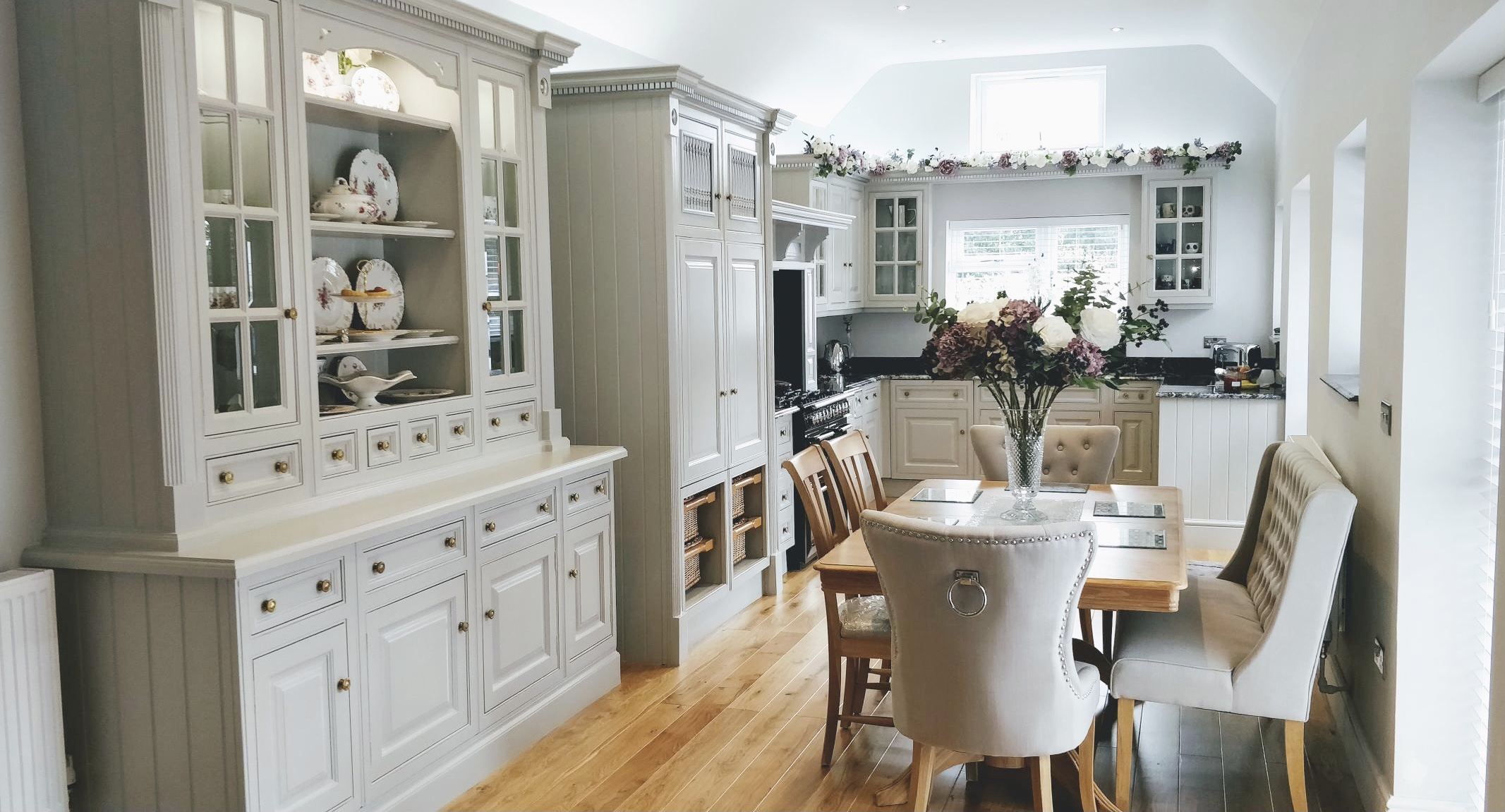Hand painted Clive Christian kitchen painted in Little Greene French Grey