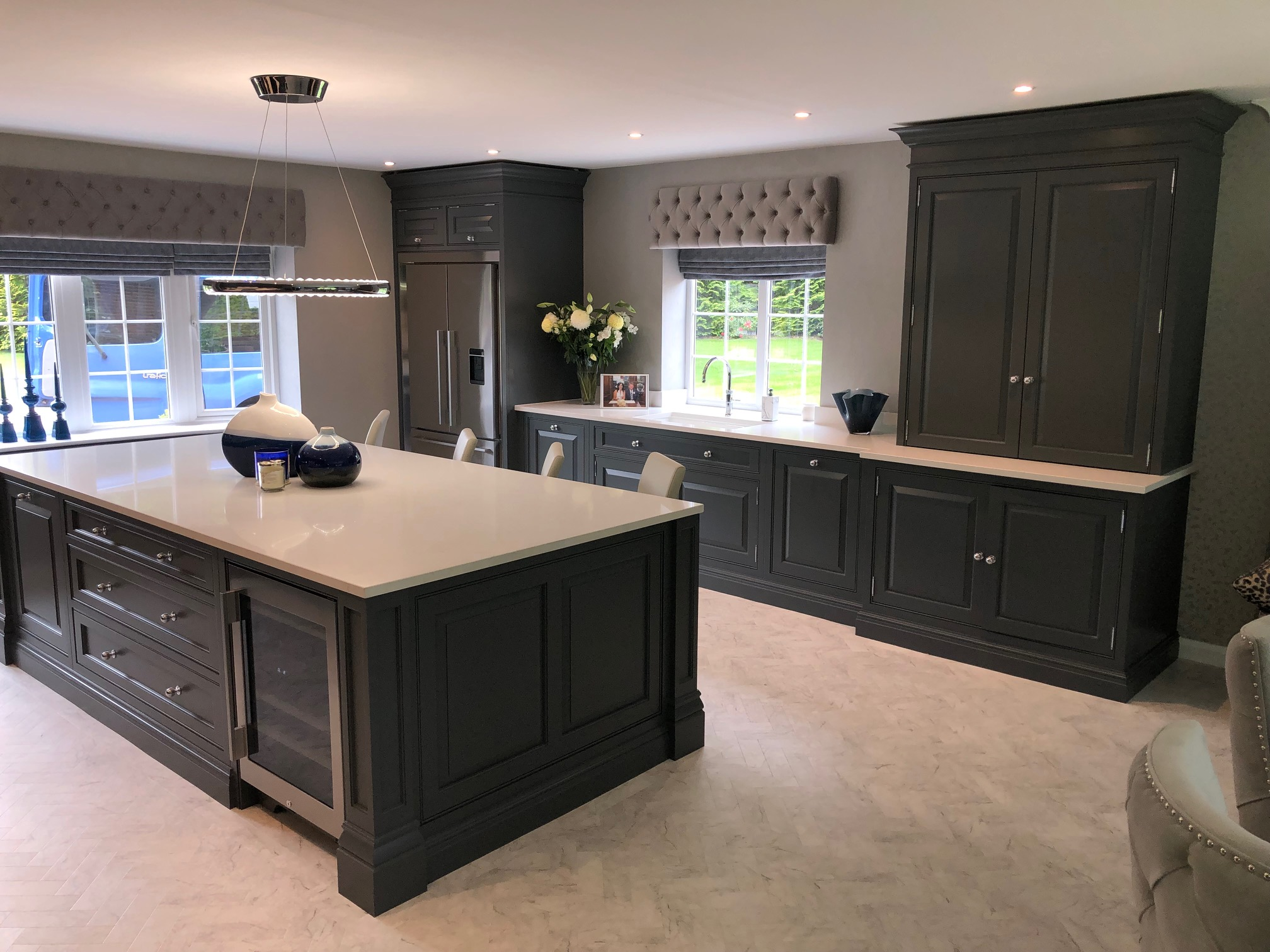 Hand painted bespoke Tom Howley kitchen in Cheshire